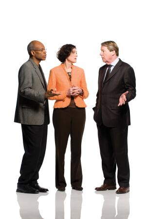 From left to right: Maurice Cox of the National Endowment for the Arts, Christine McEntee of the AIA, and Chase Rynd of the National Building Museum talk recession and stimulus.