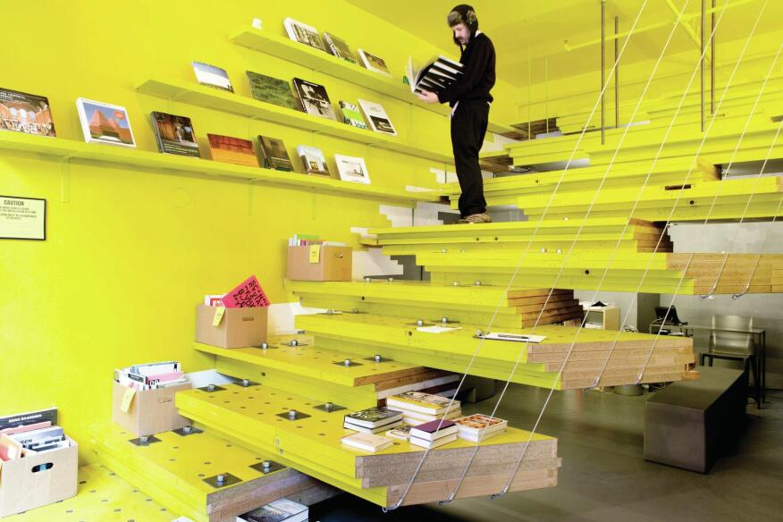 The taxi-yellow bookstore, which will be folded into the redesigned space.