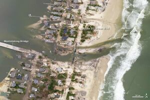 Authorities in New Jersey have waived permitting for six months for repair work on the severe damage done by Superstorm Sandy to the state's shoreline infrastructure. Above, Sandy washed out a bridge to the barrier island community of Mantaloking.