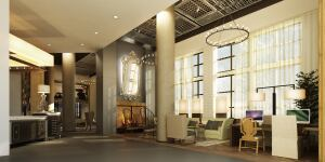 Amenities at the new Monroe Street Market property include numerous lounge and café areas. The lobby is designed to look like a high end hotel.