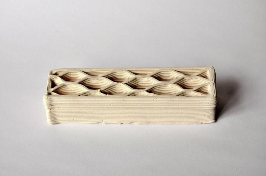 3D-printed brick prototypes.