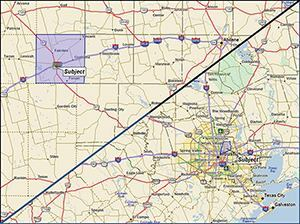This map shows a market area in rural Texas and one in Houston. Both are scaled the same to show the geographic size difference. The Houston market area, while considerably smaller, has triple the population of the rural market.