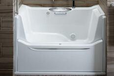 Walk-in Bathtub With Adjustable Wall