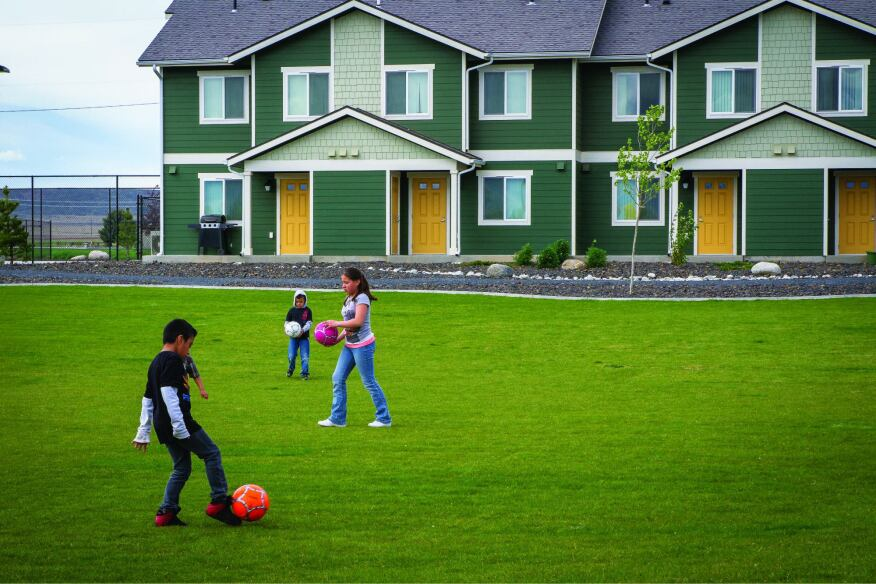 Casa Kino, an affordable housing development in Quincy, Wash., that serves farmworkers and their families, provides an abundance of green space for children to gather and play.