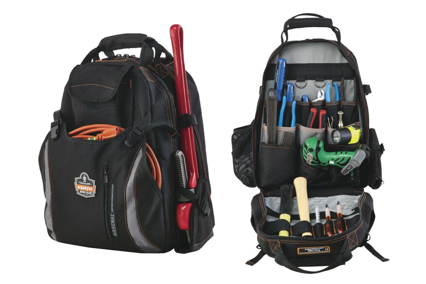 The Ergodyne Arsenal 5843 Tool Backpack has two main interior compartments and a tall tool holster on an exterior side panel.