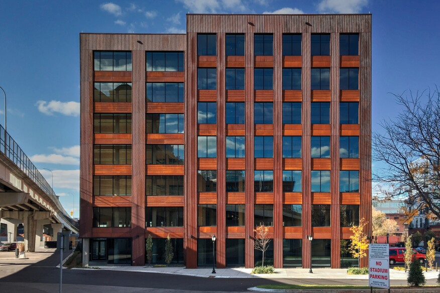 The mass timber T3 Tower, in Minneapolis, is clad with weathering steel.