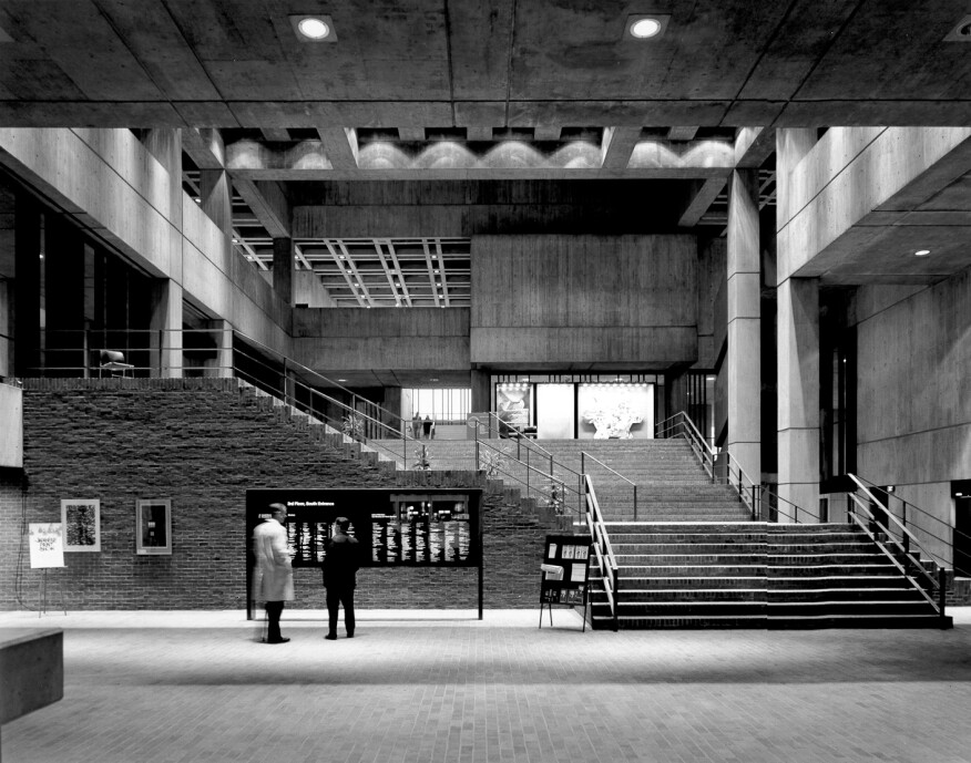 Boston City Hall interior, archival photo