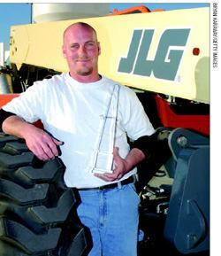 "Joe Thomas, foreman with Knowlton & Sons Masonry, Clifford, Pa., took home  the top prize in the 2007 ""Telehandler Skills Challenge."""