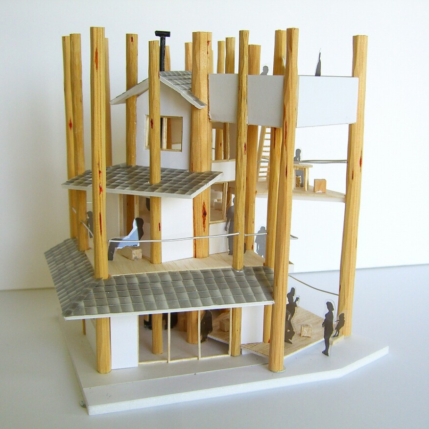 Model of Toyo Ito's Home-for-All house in Rikunzentakata
