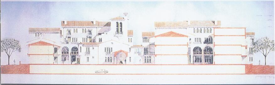 The judges approved of the Mansion Condominiums'asymmetrical elevations. Turrets, arched windows, balconies, and varying roof heights lend authenticity to the project's fictional history as three large houses subdivided over time.