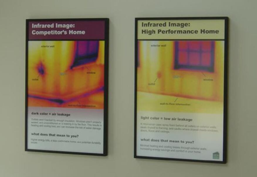 Signage throughout the demonstration home clearly explains the features and benefits--from durability to energy efficiency--of the house's visible and invisible performance details.