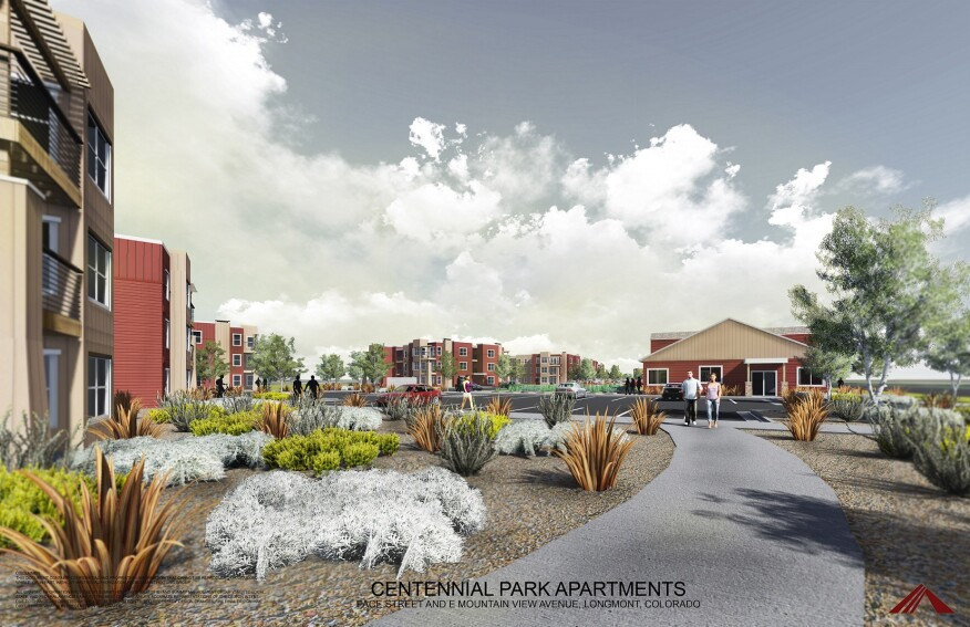 Centennial Park by Summit Housing Group will provide 140 affordable housing units in Longmont, Colo. (Conceptual rendering courtesy of Summit Housing Group)