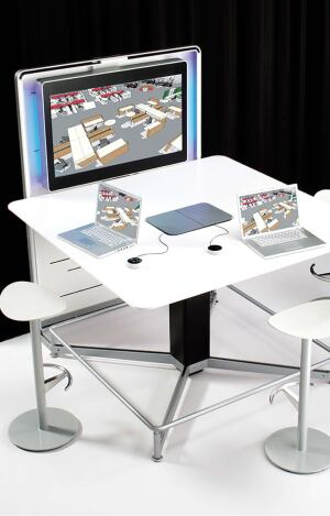 Steelcasesteelcase.com  Link up to four screens with a simple interface • A puck-shaped control allows users to choose which screen to display information on with no cable switching • Screens and projectors connect directly to the table • No software needed