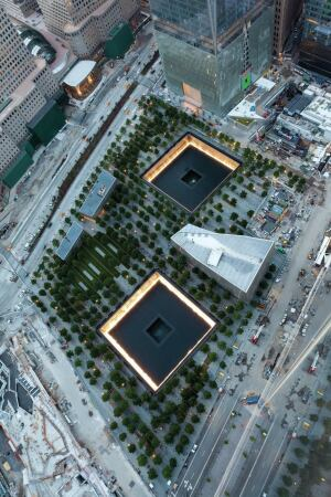 Aerial view of the World Trade Center site