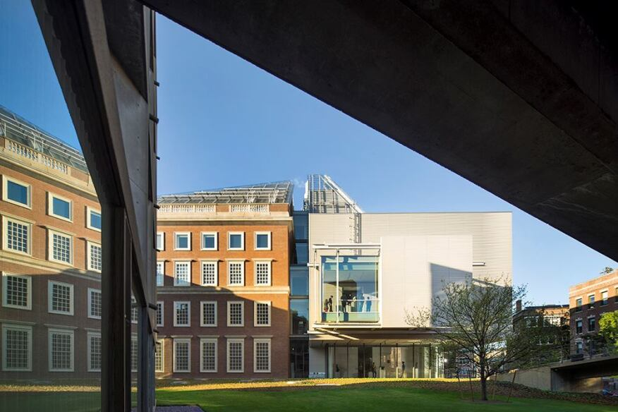 Harvard Art Museums, photographed from under the Le Corbusier ramp leading into the new building.