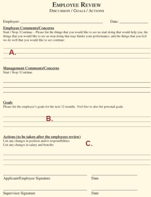 forms for employee reviews