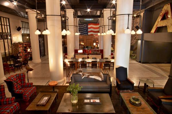 Ace Hotel lobby and bar, New York, 2009.