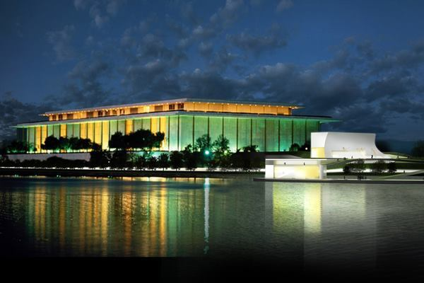 Concept rendering of the Kennedy Center Expansion Project from across the Potomac River.