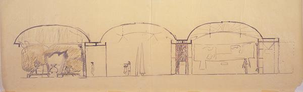 Schematic section drawing (circa September 1967) of galleries and courtyard.