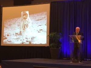 Buzz Aldrin was the surprise keynote speaker at the Dealer Conference for Jacuzzi Hot Tubs and Sundance Spas in Panama City, Panama.