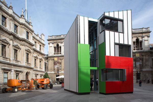 The Homeshell installation is located in the Royal  Academy of Art's Annenberg Courtyard in London.