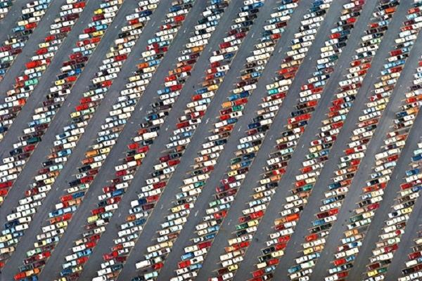 "Alex MacLean, ""Hounds Tooth Pattern in Parking Lot at Disney World,"" 2009."