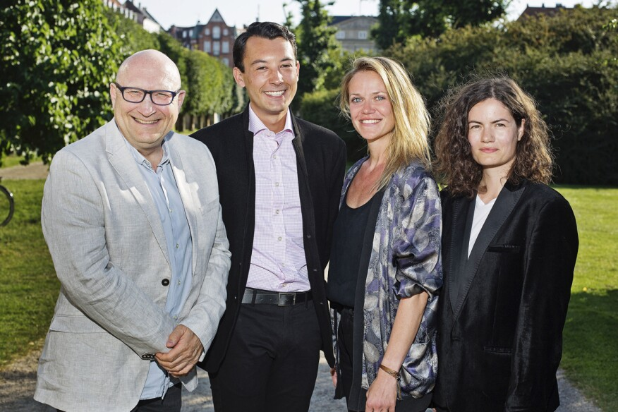 The winners of the Henning Larsen Foundation's film competition. From the left: Sam Renseiw, Cole Phoenix Skaggs, Agapi Triantafillidis, and Barbara Bohr.