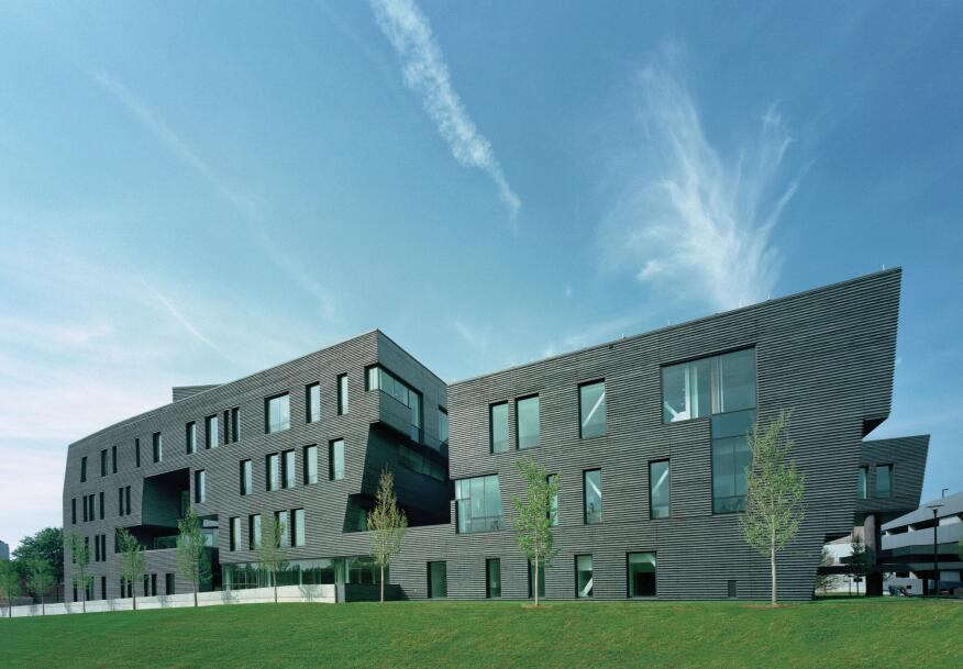 The dark exterior masonry is complemented by glass from Viracon and Oldcastle BuildingEnvelope.
