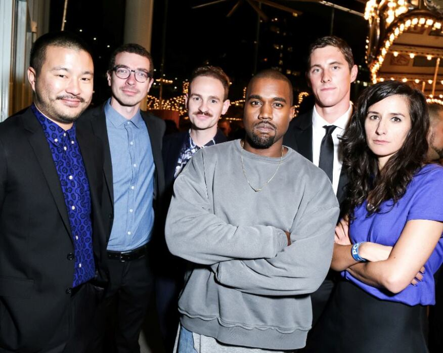 From left to right: Dong-Ping Wong, Jeff Franklin, Archie Coates, Kanye West, Conor Dwyer, and Oana Stanescu.