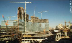 Cranes at the CityCenter project dot the Las Vegas skyline.