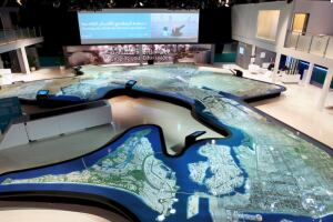 A Cityscape interactive screen shows the ambitious scope of Abu Dhabi's transformation as a world-class sustainable city by 2030.