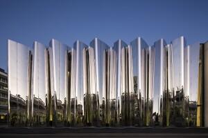 The reflective exterior of the Len Lye Centre.