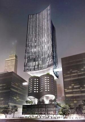 A proposed compromise by Studio Gang Architects that would preserve the Prentice Women's Hospital design while accommodating a new research tower for Northwestern.