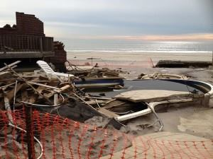 No mercy: Hurricane Sandy trashed this pool in Neponsit, N.Y.