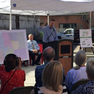 Colorado Gov. John Hickenlooper announces a new affordable housing initiative for artists and their families at developer Artspace's Loveland live/work project.