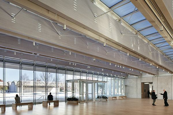 The entrance lobby of the new Renzo Piano Pavilion at the Kimbell Art Museum.