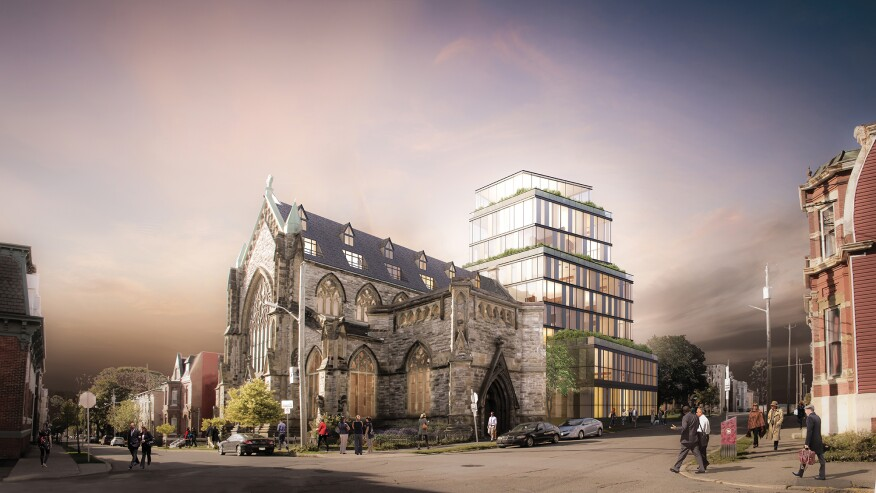 For Gothic Arches, an adaptive reuse project in Saint John, Acre Architects plans to blend an early 19th century church structure with a terraced condo tower.
