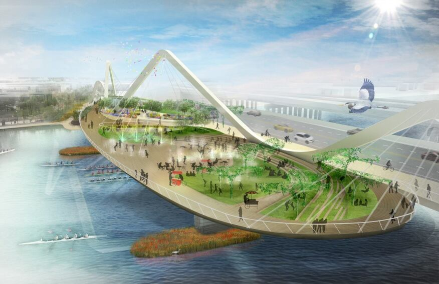 Bridge Park celebrates the coming together of two communities clasped together as one.