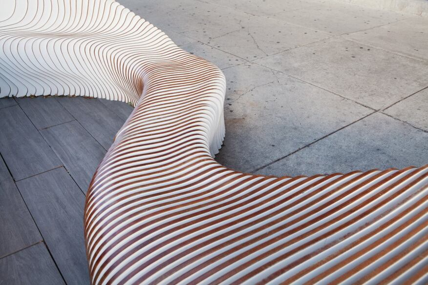 The Wave is a three-dimensional art project that won a 2014 AIA Chicago Small Project Award.