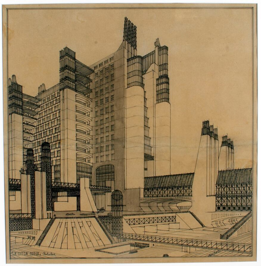 Sant'Elia's drawing of an apartment building in Città Nuova.