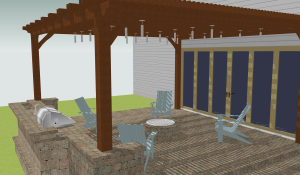 Rendering of Cost vs. Value Backyard Patio Project
