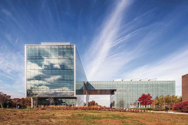 Seen here from the southeast, the elevations facing the interior of the campus incorporate curtainwalls from Jangho with glazing from Xinyi Glass.