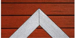 Figure 6. Weyerhaeuser has added Driftwood (inlay) and Spice (background) to its color selections for ChoiceDek composite decking. The boards are made by a process that encapsulates recycled wood fiber in recycled polyethylene. The product line includes a decorative railing system. (800/951-5117, www.choicedek.com)