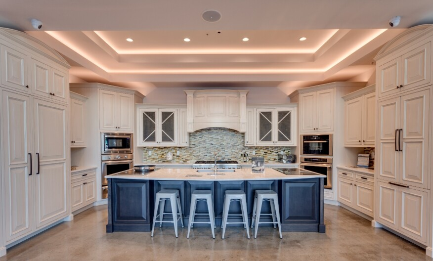 The showroom's kitchen vignettes are designed to appeal to customers' varied tastes.