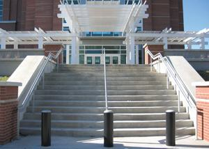 Concrete stairs can provide a durable and attractive gateway.