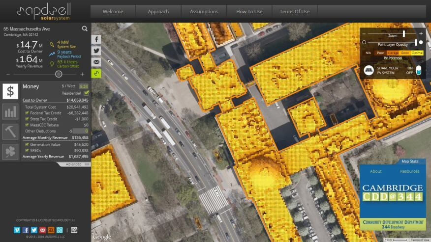 MIT Sustainable Design Lab's solar map of Cambridge, Mass.: The different hues represent the level of solar energy-generating potential with brighter hues indicating more optimal locations and conditions for photovoltaic panels. The left sidebar estimates the optimal system size for solar energy potential at a specific address and provides information on cost, payback time, the building's physical properties, and carbon offset information.
