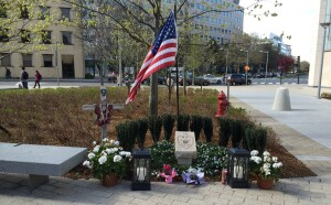 Following Sean Collier's death, mourners created a temporary memorial near the site.