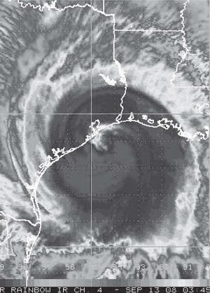 Hurricane Ike approaches the Texas coast in September. Look for increasingly erratic weather as the 21st century progresses.