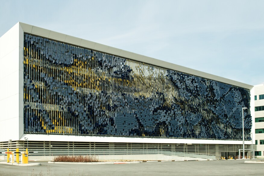 Garage Facade detail: may–september installation at eskenazi hospital parking