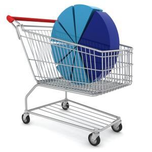 Shopping cart holding pie chart